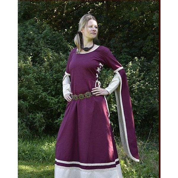 Medieval Dress Dorothee, burgundy / natural coloured