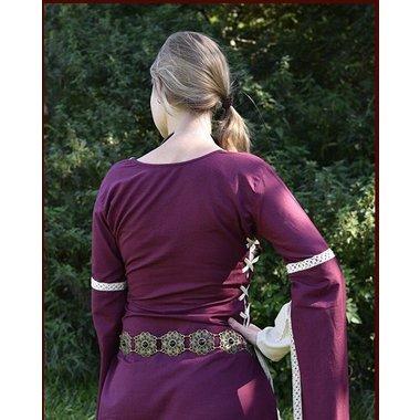 Vestido medieval Dorothee, burdeos-naturel