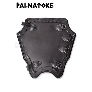 Plaine des protège-tibias en cuir, noir
