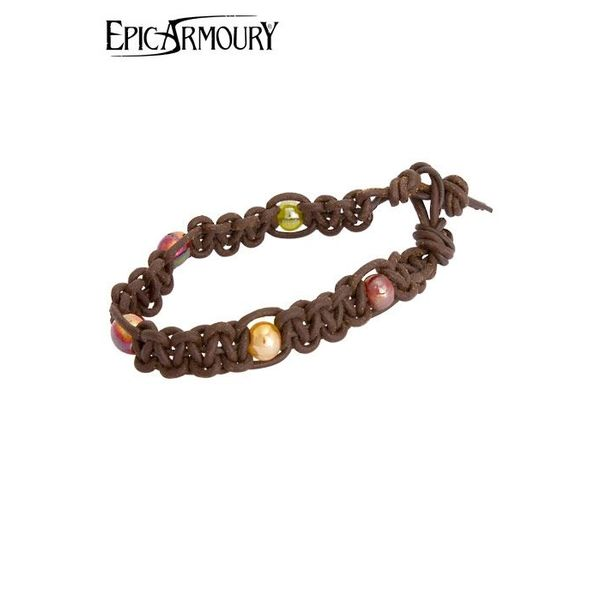 Epic Armoury Bracciale con perline, cuoio