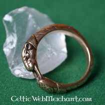 Viking Ring with Hound Heads, Bronze