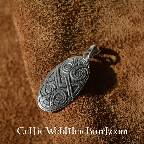 Silver shield brooch pendant