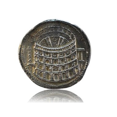 Roman coin opening Colosseum