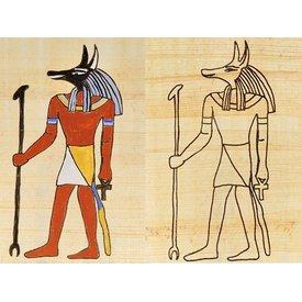 Papirus egipski bóg kolorowanie płyta Anubis