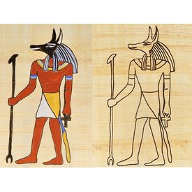 Papyrus coloring plate Egyptian god Anubis