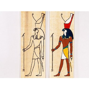 Papyrus coloring plate standing Horus
