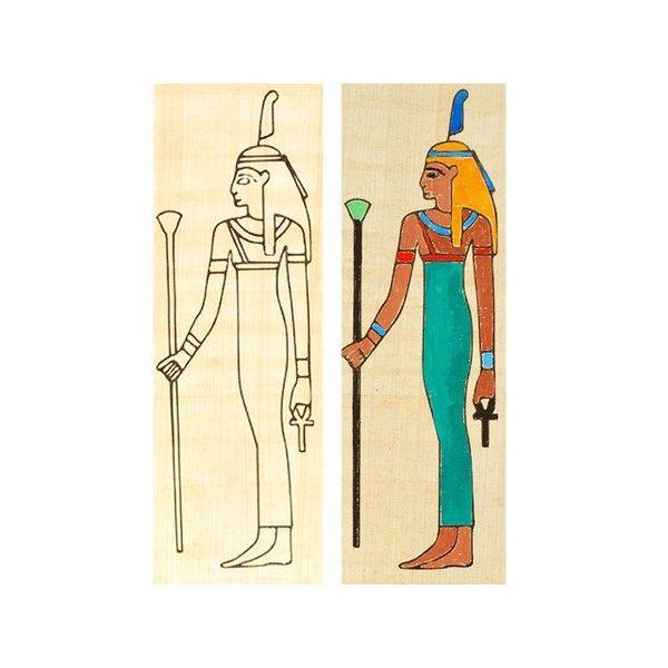 Papyruskleurplaat Isis staand