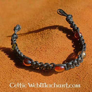 Bracelet with Beads, Leather