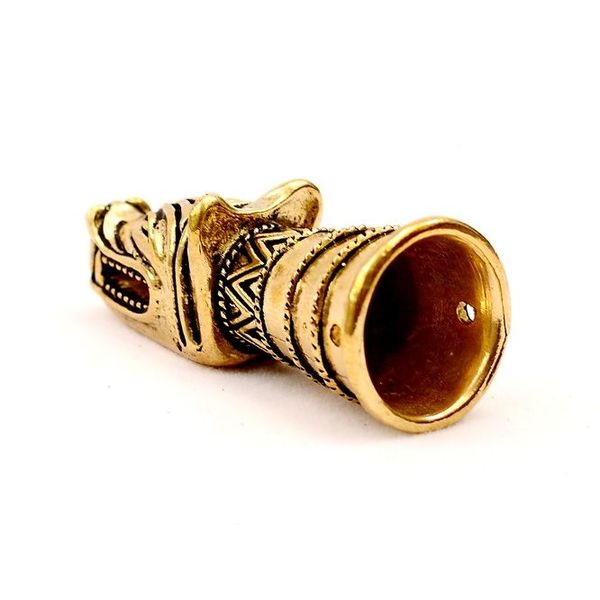 Drinking horn decoration with wolf head, brass