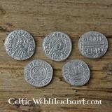 Alfredo el Grande (871-891). conjunto de monedas de cinco