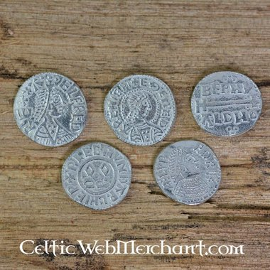 Alfredo il Grande (871-891). insieme a cinque moneta