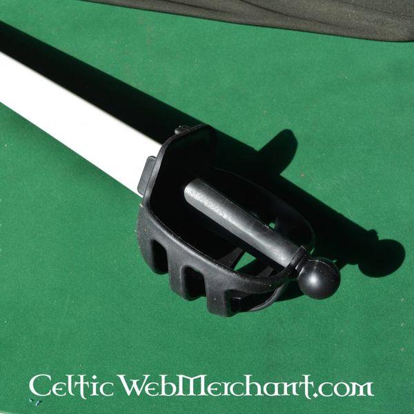 Red dragon Basket hilted zwaard HEMA zwart-wit