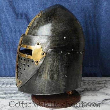 Sugarloaf Helm, met scharnierend vizier 1,6mm, met antieke afwerking