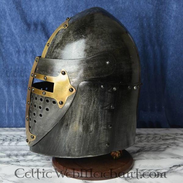 Sugarloaf Helm with hinged visor, 1.6 mm steel, antiqued
