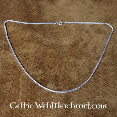 Silver double twisted necklace, 55 cm