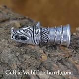 Drinkhoorndecoratie met wolfskop zilver