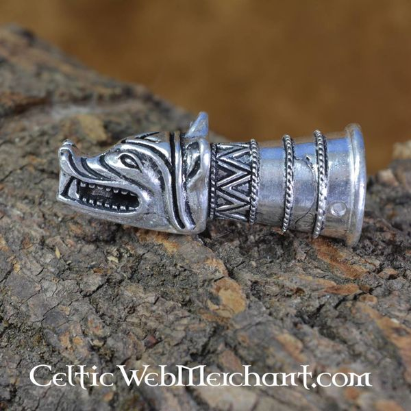 Drinking horn decoration with wolf head, silver