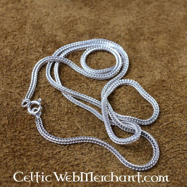 Silver twisted necklace, 50 cm
