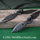 Mano forjado pecho Vikingo bisagras de par (18 cm)