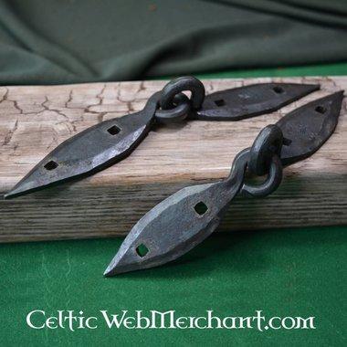 Handgesmeed Viking kistbeslaag, paar (18 cm)