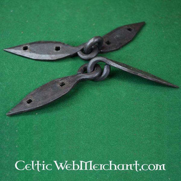 Ulfberth Charnières de coffres Viking, forgées main, par paire (18cm)