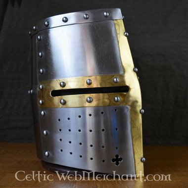 Helmet knight templar with brass cross