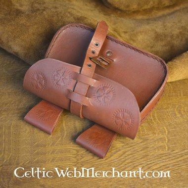 Brown leather bag sun wheel