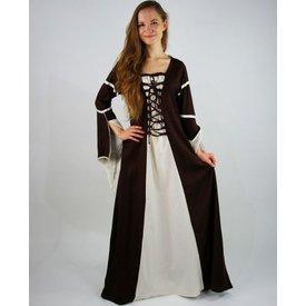 Kjole Eleanora brun-hvid