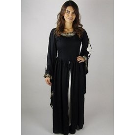 Noble robe brodée Loretta, noir