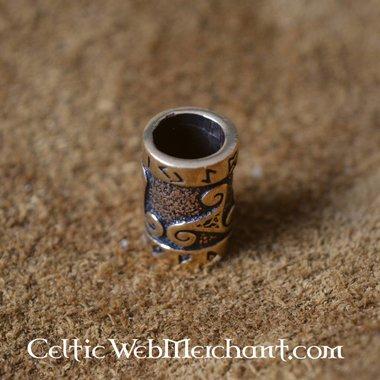 Bronze beard bead with trisqelion & rune inscription