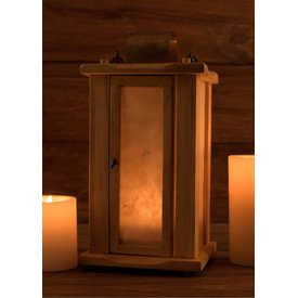 Wooden lantern with parchment windows