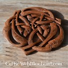 Woodcarving three celtic dogs