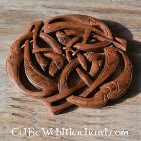 Houtsnijwerk drie keltische honden