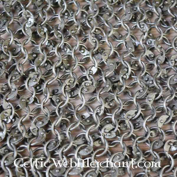 Ulfberth Chain mail shoulder piece, round rings - round rivets, 8 mm