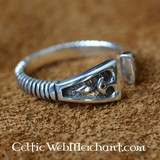 Viking Ring with diamond pattern, silver