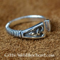 Viking Ring with diamond pattern, silver