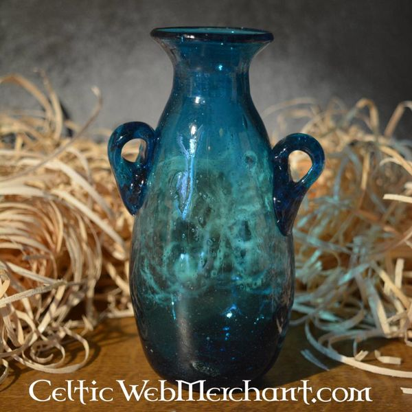 Amphora de cristal romano, turquesa
