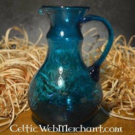 Pot de verrerie en verre romain, turquoise