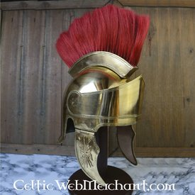 Loftet hjelm med hjelmkam, messing
