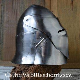Closed flat bascinet battle-ready