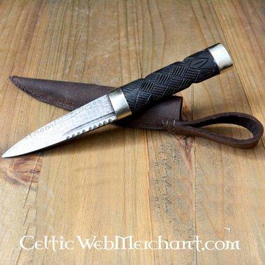 Sgian Dubh (poignard écossais), en acier de Damas