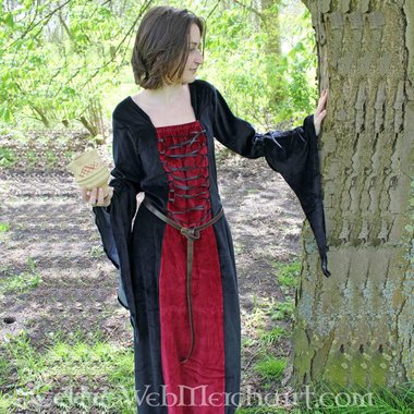 Robe Aline, noir et rouge
