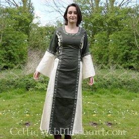 Kjole Cleena grøn-hvid