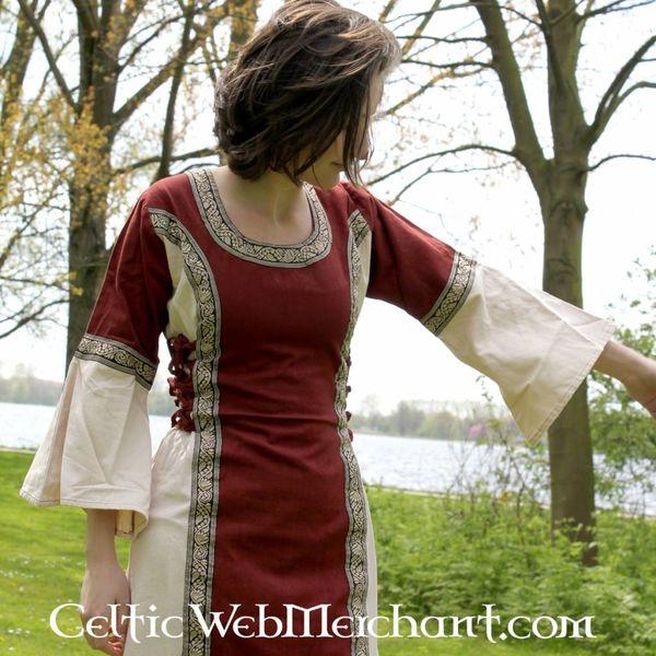 Vestido Cleena crema-rojo