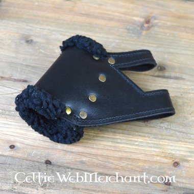 Supporto spada GRV con finiture in pelliccia, cuoio e mancini