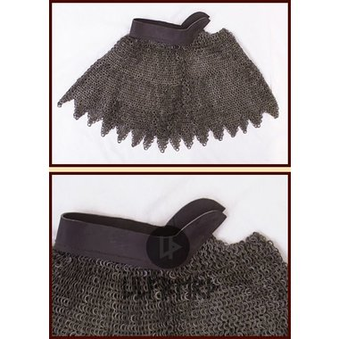 Chain mail aventail, flat rings - round rivets, 8 mm