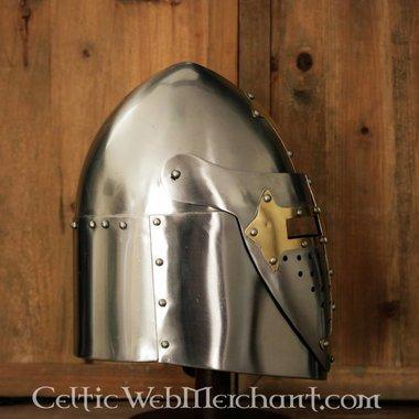 Sugarloaf Helmet with hinged visor, 1.6 mm steel, polished