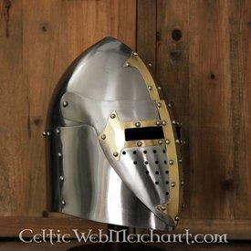 Sugarloaf Hjelm med hængslet visir, 1,6 mm stål, poleret