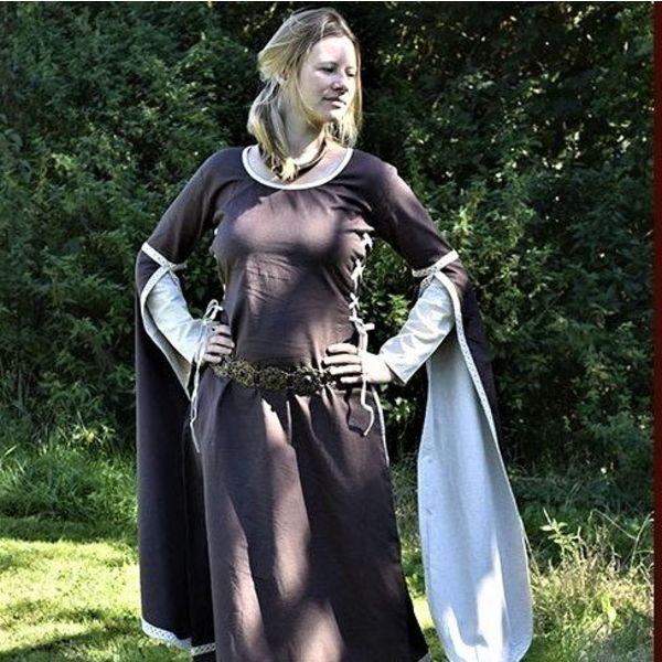 Medieval Dress Dorothee, brown / natural coloured