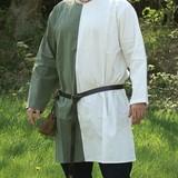 Middeleeuwse tuniek mi-parti groen-wit